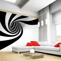 stylish living room decorated with optical wall paper - Embellish your home decor with the optical art Living Room Modern, Living Room Bedroom, Living Room Decor, Pinterest Home, Bohemian Style Bedrooms, Wall Design, Home Art, Wall Murals, Wall Art