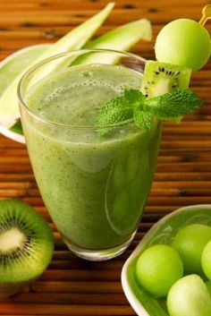 Make a green smoothie every morning within 2-hours of waking. Add extra protein (whey-based protein powder) and blend well. Kiwi, spinach or kale, green apples, mint, melon, ice, orange juice, banana, etc. yum. Think fresh sweet fruit + nutritious greens.  http://www.whole-body-detox-diet.com/green-smoothies.html