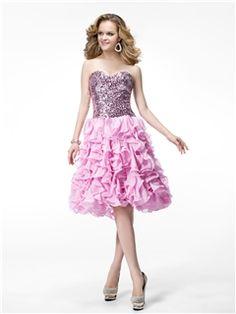 Luxurious A-line Sleeveless Sweetheart Knee-Length Sequins Evening/Prom Dress
