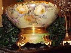 Exquisite Limoges Signed Punch Bowl With Magnificent Roses and from allthingslovelee on Ruby Lane