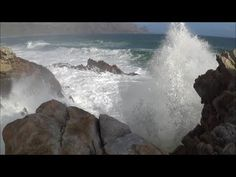 1 hour video of big ocean waves crashing into rocky shore - natural ocean wave sounds - HD 1080P - YouTube