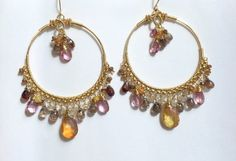 Colorful Statement Earrings Gold Hoop by DoolittleJewelry on Etsy
