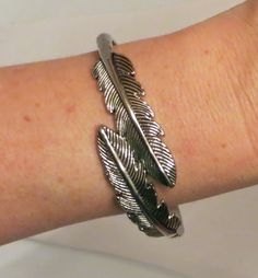COWGIRL Bling FEATHER CUFF Bracelet antiqued SILVER WESTERN Native Indian GYPSY #Unbranded #cuffbangle