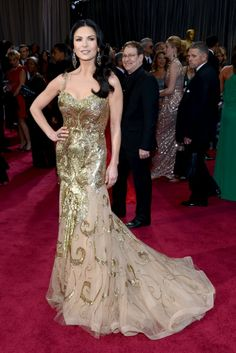 Oscars 2013 Red Carpet.  Catherine Zeta-Jones wears Zuhair Murad dress and Lorraine Schwartz jewelry.