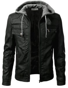Shop a great selection of Men?s Premium Pu Faux Leather Moto Biker Jacket Detachable Hood - Unbranded. Find new offer and Similar products for Men?s Premium Pu Faux Leather Moto Biker Jacket Detachable Hood - Unbranded. Mens Flight Jacket, Bomber Jacket Men, Cargo Jacket, Hoodie Jacket, Urban Fashion, Mens Fashion, Fashion Wear, Street Fashion, Fashion Outfits