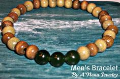 "Men's Bracelet  ""Liberty I"" Genuine Wood (Brown and Green)   and Jade ( Forest Green)"
