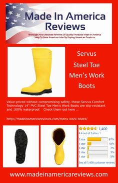 Value-priced without compromising safety, these Servus Comfort Technology PVC Steel Toe Men's Work Boots are slip-resistant and waterproof. Mens Steel Toe Boots, Mens Rain Boots, Steel Toe Work Boots, Waterproof Steel Toe Boots, American Manufacturing, Safety, Technology, Check, Stuff To Buy