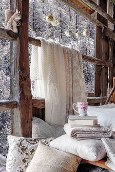 Cozy, warm & whimsical - I could spend all day in this room! Hygge / Cozy / Colsie / Hygge Home / Hygge Lifestyle / Cozy Home / Blankets / Woodland / Hygge Decor / Woodland Decor / Rustic Decor / Winter Cottage Winter Love, Cozy Winter, Winter Cabin, Winter Night, Winter Porch, Winter Coffee, Hello Winter, Cold Night, Cabins In The Woods