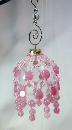 Pink Beaded Victorian Ornament Cover on Clear Glass by Grannycatz, $18.00