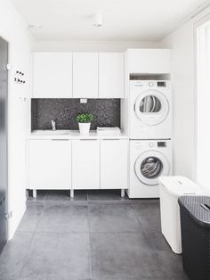 modern laundry room design, modern laundry room organization, laundry room cabinets with sink and open shelves and tile floor, laundry in mudroom design Laundry Room Tile, Modern Laundry Rooms, Laundry Room Cabinets, Room Tiles, Laundry Room Organization, White Laundry Rooms, Küchen Design, House Design, Design Ideas