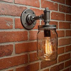 Mason-Jar-Vanity-Sconce-Fixture-Industrial-Rustic-Loft-Steampunk-Single-Light