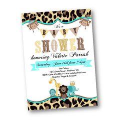 Hey, I found this really awesome Etsy listing at https://www.etsy.com/listing/221624188/monkey-baby-shower-invitation-animal