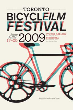 Event poster for the Toronto Bicycle Film Festival 2009. This piece of graphic design uses an overlay of offset red and blue to add a sense of motion to the bike and the text. By SANGHYUK MOON.