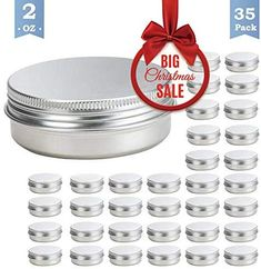 35 Set 2 Oz Tins Aluminum Tins Cans Screw Top Round Steel tins Cans with Screw Lid Screw Lid Containers *** Check this awesome product by going to the link at the image. (This is an affiliate link) Small Storage, Food Storage, Blue Tattoo, Christmas Sale, Container, Tins, Jar, Steel, Canning
