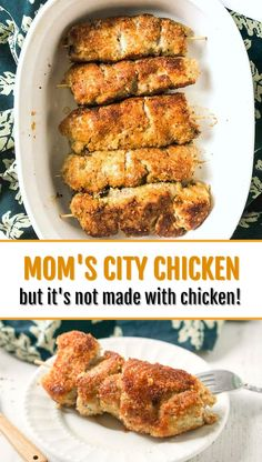 City Chicken Recipe - this is a regional favorite and easy family weeknight dinner.Mom's City Chicken Recipe - this is a regional favorite and easy family weeknight dinner. Easter Dinner Recipes, Dinner Recipes Easy Quick, Easy Chicken Recipes, Pork Recipes, Quick Easy Meals, Recipies, Pittsburgh Food, City Chicken, Weeknight Meals