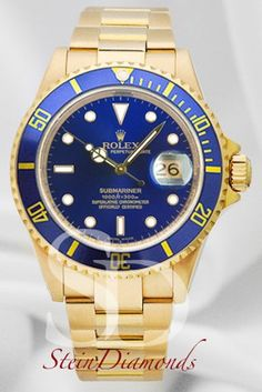 Pre-Owned Rolex Submariner 16618 18K Yellow Gold Blue Dial Gents Watch