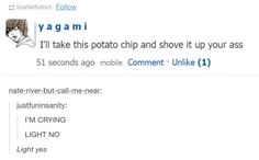 Tags: Death Note Tumblr, Light Yagami, potato chips