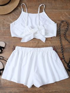 Embroidered Bowknot Top With Shorts WHITE: Two-Piece Outfits | ZAFUL