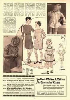 Illustrierte Wäsche- und Handarbeits-Zeitung 1935 heft 4. Children's patterns. Models 14527 and 14526: 8-10y. Model 14528: 6-8y. Model 14529: 4-6y. Model 76746: 2-4y. PDF sewing patterns for these models available upon request, please contact me for more information.