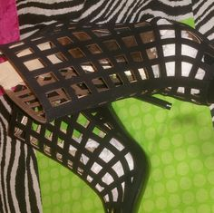 Black caged heels Perfect condition never worn beautiful heels Qupid Shoes Heels