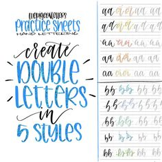 5 Styles Double Letter Practice Sheets  Hand Letter the