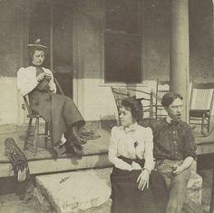 Jessie Crane Evans and Walker Evans Jr. Seated Before Porch, with Unidentified Woman, ca 1900