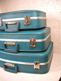 Vintage Blue Luggage Set