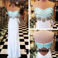 Cut chiffon prom dress with beautiful top details, long sweetheart dress for prom 2016 #coniefox