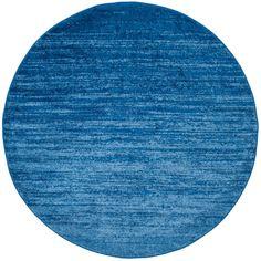 Adirondack Light Blue/Dark Blue 6 ft. x 6 ft. Round Area Rug