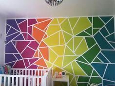 #Vibrant# rainbow#Wall painting Idea for kids/ Teen Room Wall Painting Decor, Mural Wall Art, Geometric Wall Paint, Diy Wand, Kids Room Paint, Kids Rooms, Rainbow Painting, Rainbow Wall, Rainbow Room Kids