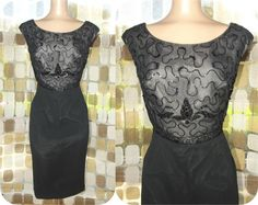 """Vintage 50s Black Silk Georgette Beaded Cocktail Wiggle Dress Lane Bryant XL 1X Plus Size    This is a beautiful vintage 1950's cocktail dress made by """"Lane Bryant"""". It is made of black sheer silk georgette over black satin on the sweep and black sheer georgette over nude satin at the bodice. It has a beautifully beaded, nude illusion bodice, a straight pencil sweep with a back kick pleat. It has a metal back zipper, darted bust and a sexy curvy fit.    No Labeled size, Please use The…"""