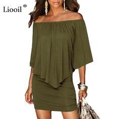 cd7440d4f49 Army green Slash Neck Women Mini Dress Autumn Style Off Shoulder Sexy  Dresses Vestidos Black White Beach Casual Dress