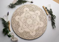 The Moods of The Moon on Etsy: Metatron's Cube Mandala Crystal Grid - Birch Wood Altar Board - Sacred Geometry Path Mandala Drawing, Plate Design, Elements Of Design, Crystal Grid, Flower Of Life, Sacred Geometry, Flower Tattoos, Tattoo Inspiration, Altar