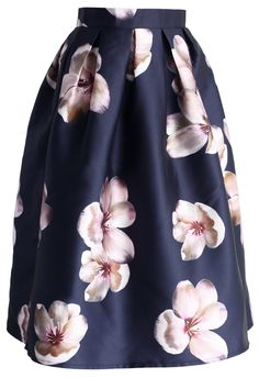Linda falda con estampado floral y tablones ✿⊱╮
