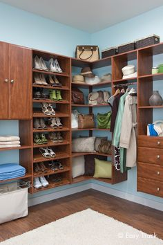 Display and organize your shoes and handbags! Easy Track closet in Cherry.