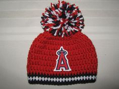 Crochet Beanie Baby Hat - Los Angeles Angels of Anaheim (Red, White and Blue) with embroidered Angels logo and large pom pom