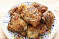 Pan Fried Italian Chicken Thighs, crisp and juicy with only a tablespoon of oil! recipe by Barefeet In The Kitchen