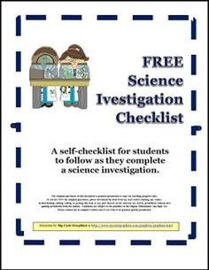 "FREE SCIENCE LESSON - ""Student Self-Checklist for Science Investigations"" - Go to The Best of Teacher Entrepreneurs for this and hundreds of free lessons. 2nd - 4th Grade   http://thebestofteacherentrepreneursiv.blogspot.com.co/2016/11/free-science-lesson-student-self.html"