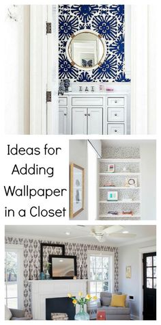 Add a pretty pop of color or pattern in an unexpected small space in your home like these closet #wallpaper ideas.