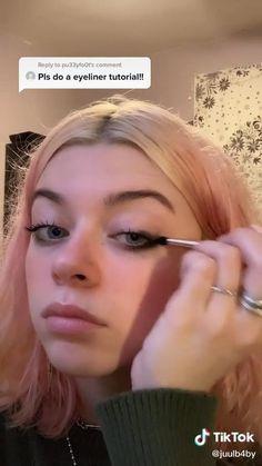 Emo Makeup, Indie Makeup, No Eyeliner Makeup, Girls Makeup, Skin Makeup, Beauty Makeup, Grunge Eye Makeup, Grunge Makeup Tutorial, Eyeliner Ideas