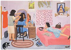 Pachuca With a Razor Blade, Carmen Lomas Garza. Mexican American, Mexican Art, Visual Thinking Strategies, Spanish Pictures, Norman Rockwell Art, San Francisco, Chicano Art, Naive Art, American Artists