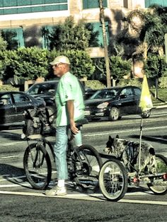Just a cool guy and his dog going on a ride in Newport Beach