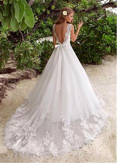 Buy discount Alluring Lace & Tulle Jewel Neckline A-line Wedding Dresses With Lace Appliques at Magbridal.com