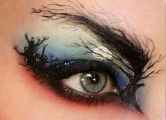 Eye makeup - ghosts in woods w full moon (I don't wear or like makeup, but this is too cool)
