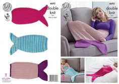 Knit your own little mermaid tail with this DK Mermaid Blankets Pattern 4692 from King Cole. Pattern knits from Baby to Adult and uses King Cole's yarns Glitz DK, Drifter for Baby DK or Comfort DK. Mermaid Tail Blanket Pattern, Mermaid Baby Blanket, Baby Mermaid, Mermaid Blankets, Double Knitting Patterns, King Cole, Baby Comforter, Crochet World, Knitting Yarn