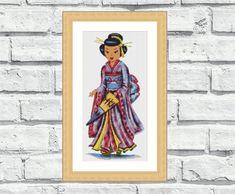 """Modern, vibrant, elegant and cheerful pattern """"Japanese Doll"""". Third one in the Doll Series, Check out other Doll Patterns here: https://www.etsy.com/shop/CrossStitchObsession?section_id=16217555&ref=shopsection_leftnav_7 Perfect for modern interiors and any room in your home including living rooms, kids rooms and bedrooms. 6,99$"""