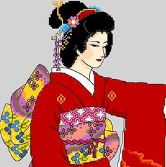 Japanese Geisha in Red by CrossStitchRinna on Etsy, $9.00