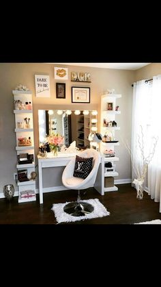 Love this vanity area! https://impressionsvanity.com/shop/hollywood-glow-xl-pro-vanity-mirror/