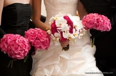 Hot Pink Hydrangea Bridesmaid Bouquets with White and Pink Bridal Bouquet