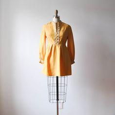vintage 1960s mod swiss miss golden yellow mini dress by RockAndRollVintage, $126.00